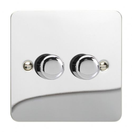 Varilight JFCP252 Ultraflat Polished Chrome 2 Gang 2-Way Push-On/Off LED Dimmer 0-120W V-Pro